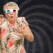 Afraid Senior Woman Watching 3d Movie — Stock Photo #19550023