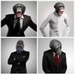 Series Of A Businessman With Monkey Head — Stock fotografie