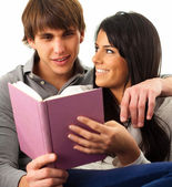 Young Couple Reading Book — Stock Photo