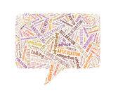 Rede-rechteck, bestehend aus text — Stockfoto