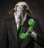 Man With A Goat Head — Stock Photo