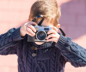 Little Boy Capturing Photo With Camera — Stock Photo
