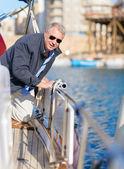 Portrait Of Mature Man On Sailboat — Foto de Stock