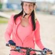 Stock Photo: Happy Cyclist Woman