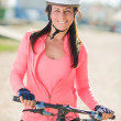 Happy Cyclist Woman - Stock Photo