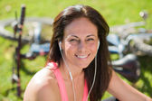 Portrait Of Happy Woman Listening To Music — Stock Photo