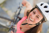Happy Female Cyclist — Stock Photo