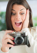 Surprised Woman Looking At Camera — Stock Photo