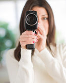 Portrait Of Woman Using Camcorder — Stock Photo