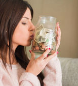 Woman Saves Money For The Future — Stock Photo