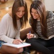 Two Happy Women Studying Together — Stock Photo
