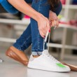 Woman Wearing New Shoes - Stock Photo
