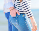Couple Hands In Each Other Pocket — Stock Photo