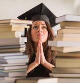 Portrait Of Graduated Woman Praying — Stock Photo