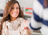 Happy Woman Shaking Hand — Stock Photo