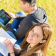 Young Happy Student Studying — Stock Photo