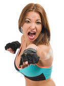 Mid-adult Woman Boxing — Stock Photo