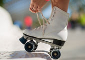 Close-up Of Legs With Roller Skating Shoe — Stock Photo