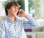 Young Man Working On Cell Phone — Stock Photo