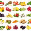Collection of fresh fruits and vegetables - Stock Photo