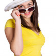 Happy girl wearing sunglasses and hat — Stock Photo