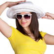 Happy girl wearing sunglasses and hat — Stock Photo #21615603