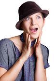 Kobieta zaskoczony — Zdjęcie stockowe