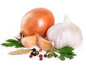 Onion with garlic — Stock Photo