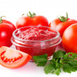 Fresh tomatoes with paste — Stock Photo #42672733