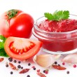Fresh tomatoes with paste — Stock Photo #42672765