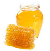 Honey with honeycomb — Stock Photo