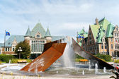 Gare du Palais and the fountain in Quebec City, Canada — Stock Photo