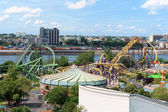 La Ronde Amusement Park view from Jacques Cartier Bridge, Montre — Stock Photo