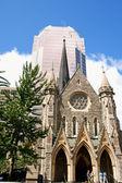 Mesih'in kilise katedral ve kpmg kule montreal — Stok fotoğraf