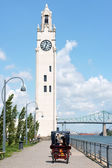 Montreal Clock Tower and Jacques Cartier Bridge, Canada — Stock Photo