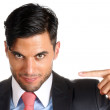Businessman pointing at himself — Stock Photo