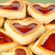 Heart shaped cherry jam cookies — Stock Photo