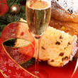 Italian Christmas with spumante and panettone — Stock Photo