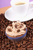 Kahve kek ve espresso — Stok fotoğraf