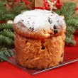 Panettone the italian Christmas fruit cake — Stock Photo