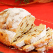 Christmas stollen the german fruit cake — Stock Photo