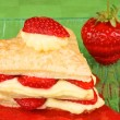 Heart shaped strawberry and custard millefeuille — Stock Photo