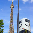 Stock Photo: Eiffel tower and RER metro sign