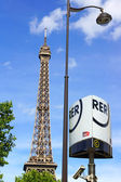 Eiffel tower and RER metro sign — Stock Photo