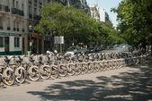 Velib bicycles parking — Stock Photo
