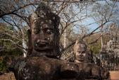 Daemons statues on a bridge — Stock Photo