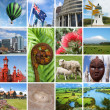 New Zealand landmarks collage - Stock Photo