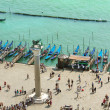 Venice lagoon and gondolas, aerial view - Stock Photo