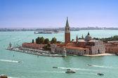 Venice, San Giorgio Maggiore Island aerial view — Stock Photo