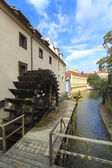 Small Venice in Prague, canal and watermill — Stock Photo